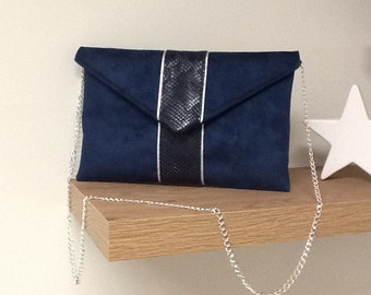Navy blue and silver evening clutch, suede and crocodile / customizable evening clutch/clutch  / detachable chain shoulder strap