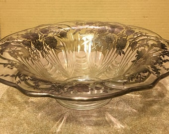 """Beautiful Stamped Sterling Silver Floral Overlay 12"""" Bowl"""