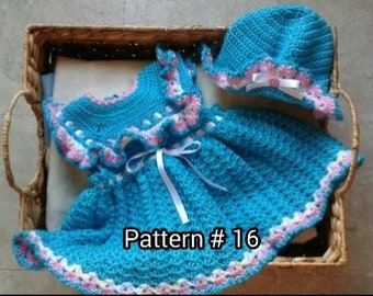 Crochet Pattern 16. Baby Dress Pattern Baby hat pattern Crochet pattern for baby girl Crochet baby pattern for girl babies Baby girl crochet