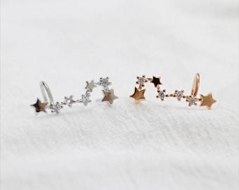 Silver Star Stud Earrings, Sterling Silver, Star Climber Earrings, Tiny Shiny Zirconia Earrings, Minimalist Dainty Earrings, XIEandCOJewelry