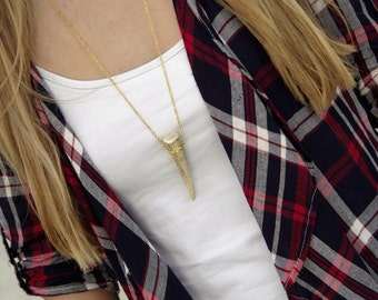 Gold Wire Wrapped Deer Antler Tip Necklace
