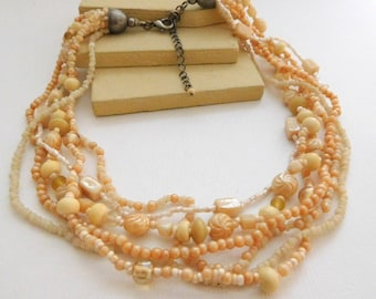 Vintage Peach & Cream Glass Bead Multi-Strand Layered Choker Necklace UU41