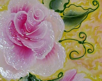 Pink rose painting in polka dot frame with glitter