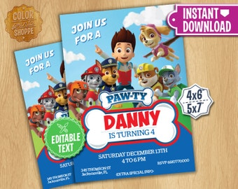 Paw Patrol Invitation - EDITABLE TEXT - Customizable Paw Patrol Birthday Party Invite - Chase Rubble Marshall - Instant Download