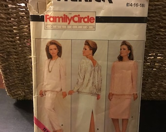 Vintage 1986 Butterick 4369 pattern -family circle collection-misses skirt-top-pants-uncut , 14-16-18.sophisticated outfit