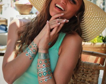 Silver Turquoise Jewelry, Silver Metallic Tattoos, Metallic Silver Tattoos, Silver Temporary Tattoos, Turquoise Jewelry, Turquoise Bracelet