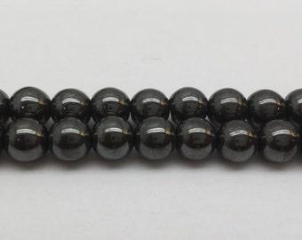 """Round Magnetic Hematite beads 16"""""""