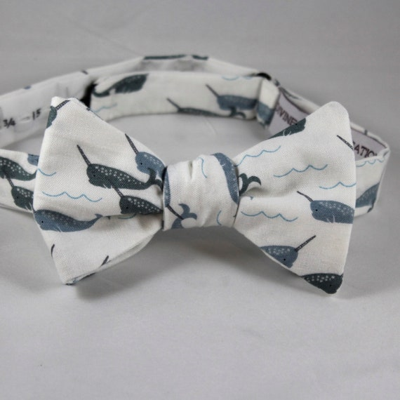 Gray Narwhal Bow Tie- Groomsmen and wedding tie - clip on, pre-tied with strap or self tying