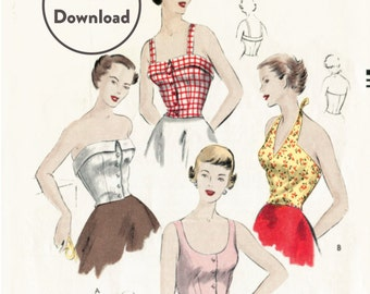 1950s 50s vintage sewing pattern crop top halter blouse bustier fitted Bust 32 B32  Instant Download
