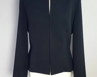 Gorgeous Vintage Joseph Ribkoff Black Cropped Box Jacket Size 12 - 1980's Créations By Ribkoff Short Black Formal Jacket Toggle Fasten