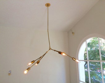 """J&B """"Swaggable"""" Brass Chandelier"""