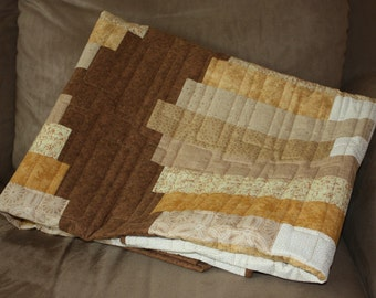 Chinese Coin Quilt, Brown Quilt, Modern Lap Quilt, Q026-Brown Coins Lap Quilt