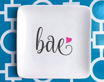 Bae trinket holder, jewelry holder, bae graphic plate, ring holder, catch all, gift ***FREE SHIPPING