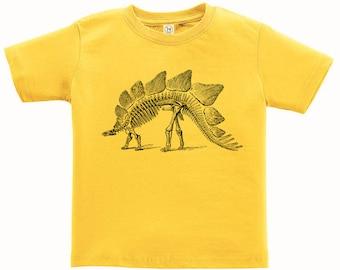 CLEARANCE, Kids Clothing, Toddler, Dinosaur Tshirt, Stegosaurus T Shirt, Dinosaur Skeleton Tee, Youth,