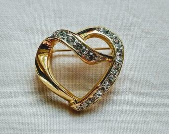 Vintage heart brooch, goldtone diamante heart brooch
