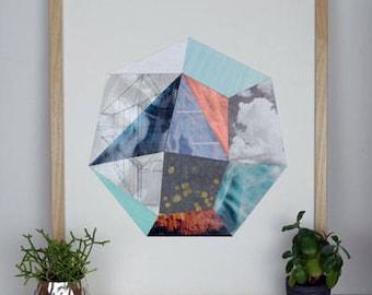 Geometric Collage Original Heptagon II