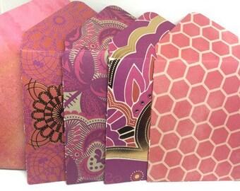 Set of 10- Bohemian Style -Mini  Envelopes, Gift Card Holders, Cash Envelope, Pocket Letter, Money Holders, Lunch box notes, Love Notes