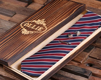 Personalized Tie Box, Cuff Links & Tie Clip Boyfriend Gift, Groomsmen Gift for Men Christmas (025220)