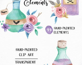 44 Watercolour Potions Halloween Elements Clipart Hand Painted INSTANT DOWNLOAD PNGs Spell Bottles Skulls Bats Flower & Leaves Digital Art