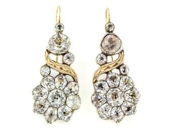 Georgian Paste Drop Earrings in Silver & 9ct Rose Gold c.1820