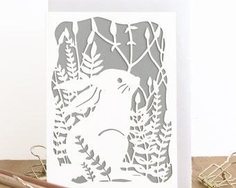 Bunny birthday card, Easter bunny card, Hare card, Cute birthday card, Rabbit lover card, Hare lover card, Cute bunny card, Handmade card