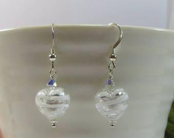 Murano Venetian Heart Earrings, Murano Stripe Silverfoil Earrings, Murano Heart Earrings w Swarovski & 925 Silver, Handmade Heart Earrings