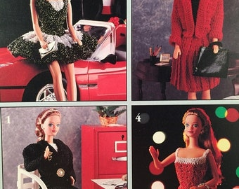ON SALE Fashion Doll Wardrobe, Leisure Arts 2416 Leaflet, Crochet Designs, Office to Evening, Doll Dress Crochet Patterns, 11 1/2 Doll Cloth