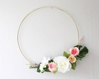 Floral Wreath | Modern Floral Wreath | Modern Hoop Wreath | Minimalist Wreath | Nursery Decor | Wall Art | Wedding Decor | Floral | Wreath
