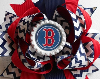 "MLB "" Boston "" Handmade Boutique Layered Hair Bow Colors: Red, White & Blue Polka Dots 5"" New"