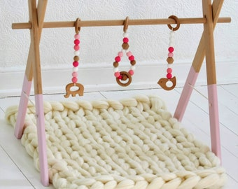 Wooden baby play gym toys, handmade toys