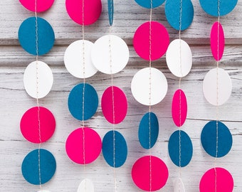 Hot Pink and Teal paper garland, Teal baby shower, Teal garland, Pink baby shower, Pink shower, Teal bridal shower, Pink bridal shower