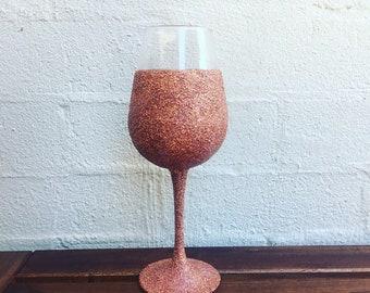 Glitter wine glass, dishwasher safe! Rose gold glitter, fun time