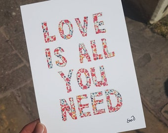 Love Is All You Need - A5 print from original textile art work - 300gsm