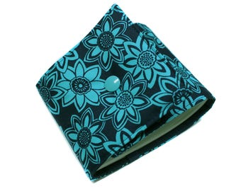 Checkbook holder in Navy and turquoise fabric length