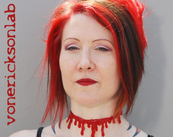 Blood drip Horror Necklace Set - Slit throat  choker necklace and 2 Blood Bracelets
