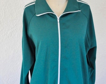 Vintage green track jacket. Vintage Windbreaker. Green jacket with white stripes. Warm up Jacket