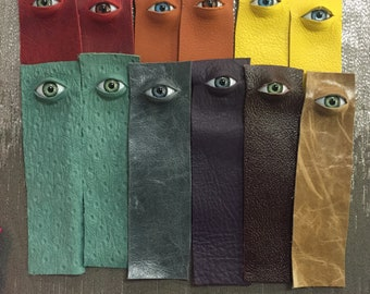 """Leather """"Eye See You"""" Bookmark"""