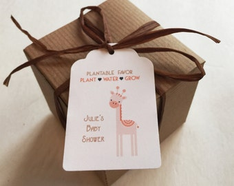 30 Baby shower favors - Giraffe Plantable seed paper favors - Boxed personalized favors - assembly required