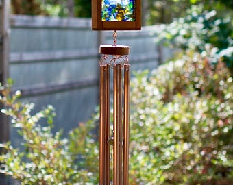 Wind Chime Sea Glass Kaleidoscope Suncatcher Windchimes Large Copper Chimes