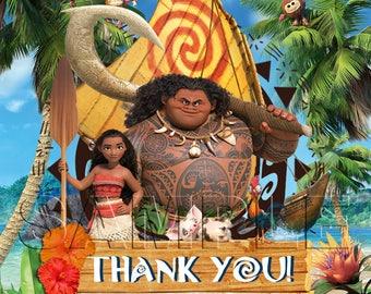 Disney Princess Moana - Moana and Maui Favor Tags - INSTANT DOWNLOAD - Favor Tags