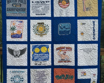 Tee Shirt Quilts, 16 T-shirts, UpCycled Quilts,  Deposit for T Shirt Quilts, Graduation Quilts, FREE SHIPPING, Custom made from clothing