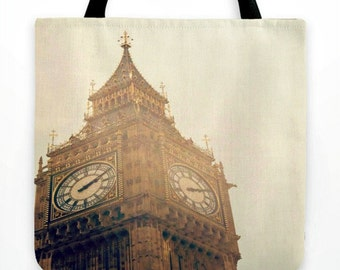 """London's Dreamy Big Ben Tassel Tote in 18"""" or 13"""" sizes - Fall Shades of Brown and Cream - Reusable Market Tote - Travel Photography"""