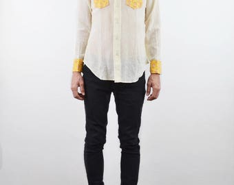 Madhuk Indian Gauze Shirt | vintage 70s Indian western shirt | 1970s DEADSTOCK India block print top | Men's Hippie shirt | Cotton gauze top