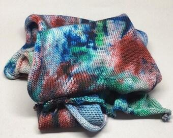 Cosmic Gas 04 OOAK - Walker merino 460 yards knitted flat blank splotch green blue red grunge sock shawl cosmos galaxy space