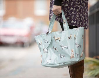 Oilcloth Shopping Bag - Market Tote - Dog Bag - Tote Bag