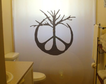 Peace Sign Shower Curtain, Tree Symbol Bathroom Decor, Extra Long Custom  Fabric Colors 84 96 Inch Stall 108 90 78 54 36