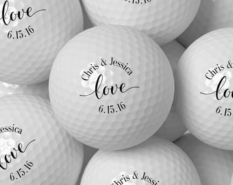 Custom Golf Ball Wedding Favor, Personalized Golf Balls Bulk Pricing 50 100 200 250 300 - Design 64