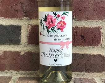 Mother's Day Wine Label - Custom Mother's Day Gift - Personalized Gift for Mom - Wine Sticker – Happy Mother's Day