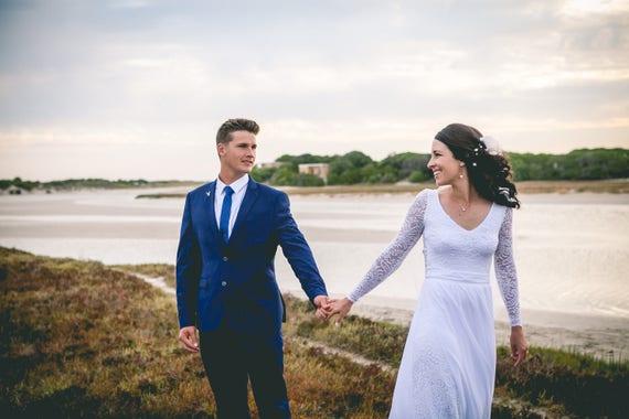 Böhmische Hochzeit Kleid / lange Ärmel Spitze Hochzeit