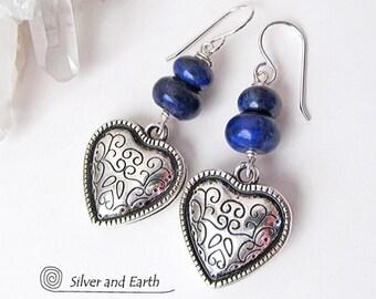 Silver Heart Earrings, Lapis Earrings, Blue Stone Earrings, Heart Jewelry, Lapis Lazuli Jewelry, Silver Earrings, Romantic Gifts for Women